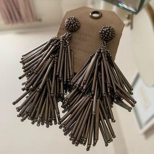Anthropologie Gray Beaded Tassel Earrings NWT